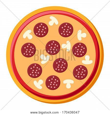 Fast food pizza with salami and mushrooms isolated on white background in flat style.