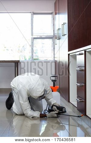 Pest control man spraying pesticide under the cabinet in kitchen
