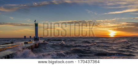 Lake Huron Lighthouse and Pier at Sunset - Grand Bend Ontario Canada