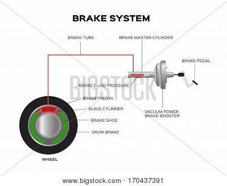 Brake system drum and disc brake. vector