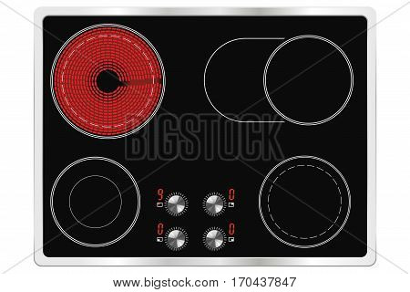 Ceramic cook top. Vector illustration isolated on white background