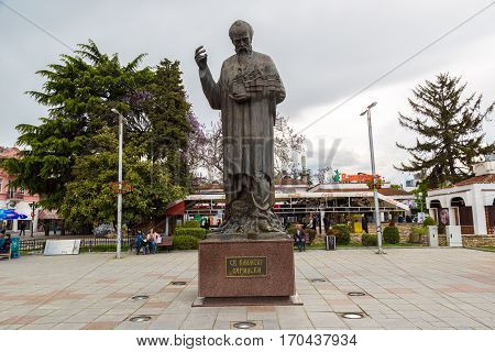 Statue Of Saint Kliment In Ohrid