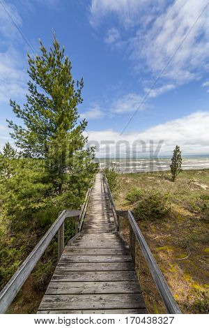 Boardwalk Leading To A Lake Huron Beach - Ontario, Canada