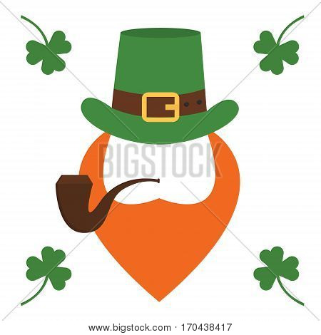 Vector modern flat design icon on Saint Patrick s Day character leprechaun with green hat, red beard, smoking pipe and no face