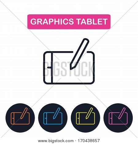 Vector graphics tablet icon. Gaget imaige. Simple thin line icon for websites web design mobile app infographics.