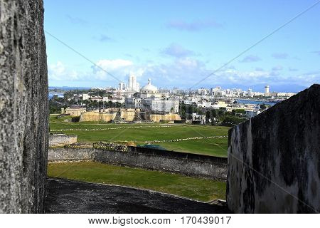 View of San Juan Puerto Rico skyline from the wall of Fort San Cristobal.