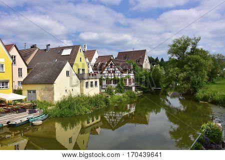 Village of Harburg Germany along the Wornitz River.