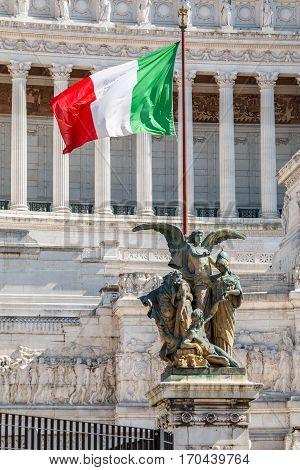 italian flag on altar of the fatherland