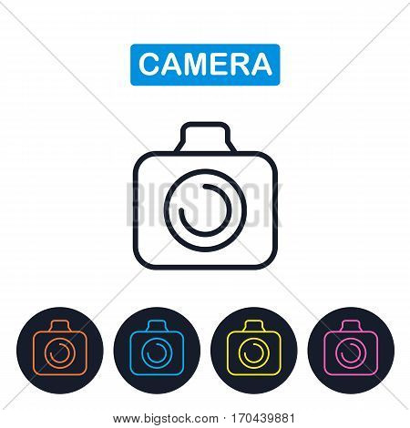 Vector camera icon. Gaget imaige. Simple thin line icon for websites web design mobile app infographics.
