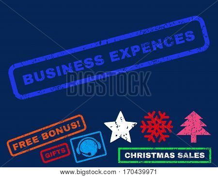 Business Expences text rubber seal stamp watermark with bonus new year symbols. Tag inside rectangular banner with grunge design and dirty texture.