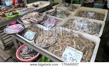 Seafood fish crabs prawn and squid at the market in Bangkok