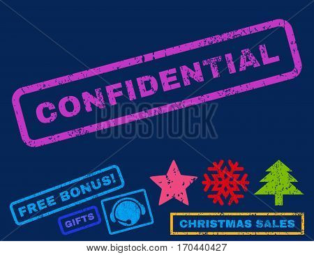 Confidential text rubber seal stamp watermark with bonus new year symbols. Caption inside rectangular shape with grunge design and unclean texture.