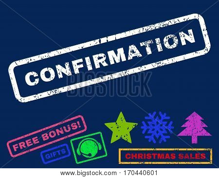 Confirmation text rubber seal stamp watermark with additional bonus christmas symbols. Caption inside rectangular banner with grunge design and scratched texture.