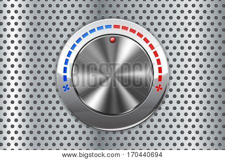 Car air temperature selector. Cold and hot air flow switch on metal perforated background. Vector illustration