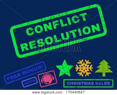 Conflict Resolution text rubber seal stamp watermark with bonus christmas symbols. Caption inside rectangular shape with grunge design and scratched texture.
