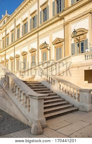 Marble Stairs At The Entrance Of Villa Reale Of Monza, Italy