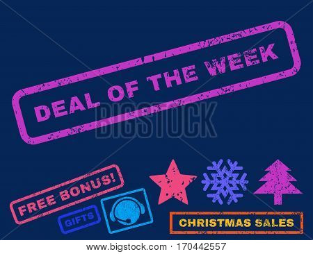 Deal Of The Week text rubber seal stamp watermark with additional bonus new year symbols. Caption inside rectangular shape with grunge design and scratched texture.