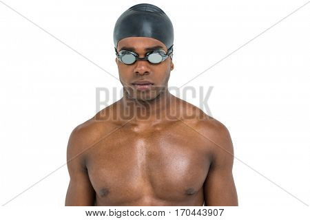 Swimmer in swimming goggles and swim cap on white background
