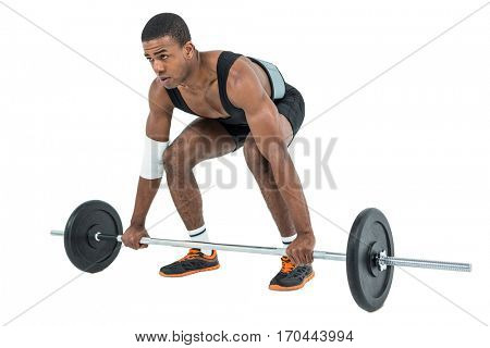 Bodybuilder lifting heavy barbell weights on white background