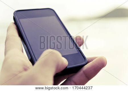 close up image of people using smart phone, Communication concept