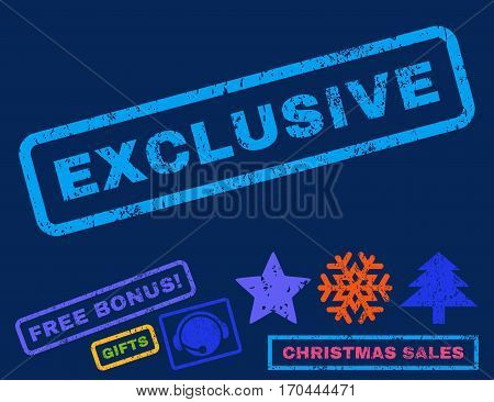 Exclusive text rubber seal stamp watermark with additional bonus new year symbols. Caption inside rectangular banner with grunge design and dust texture.