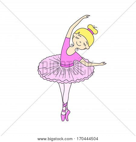 Vector illustration of nice little ballet dancer