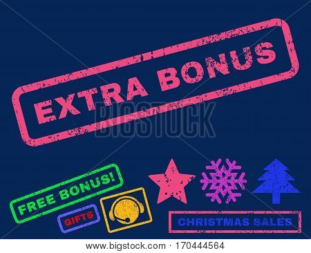 Extra Bonus text rubber seal stamp watermark with additional bonus new year symbols. Caption inside rectangular banner with grunge design and scratched texture.