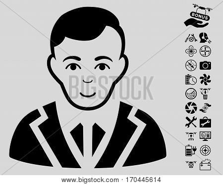 Noble icon with bonus quad copter service symbols. Vector illustration style is flat iconic black symbols on light gray background.