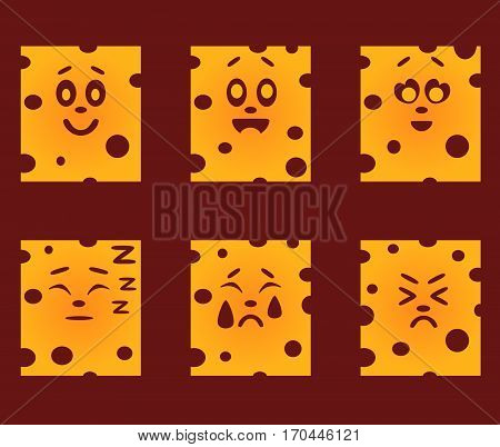 Set of yellow cheese with emotions on a burgundy background. Emotional icons. Funny laughing in love sleep crying unhappy.