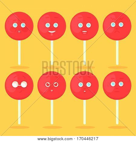 Set of red lollipops with emotion emotional icons. Shy showing tongue laughing angry cool glasses love surprised without emotion