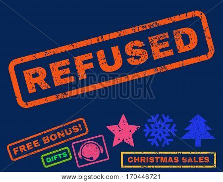 Refused text rubber seal stamp watermark with bonus christmas symbols. Caption inside rectangular banner with grunge design and dirty texture.