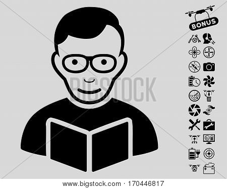 Reader pictograph with bonus nanocopter service symbols. Vector illustration style is flat iconic black symbols on light gray background.