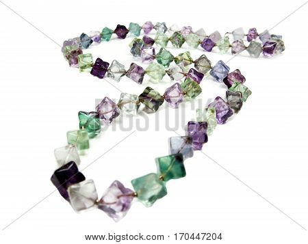 fluorite semiprecious beads isolated on white background