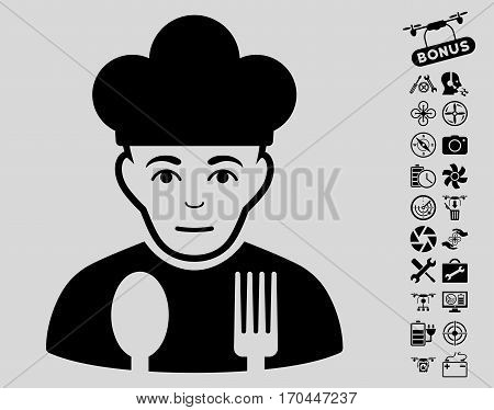 Sad Cook icon with bonus drone service graphic icons. Vector illustration style is flat iconic black symbols on light gray background.