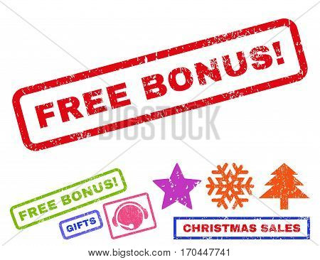 Free Bonus exclamation text rubber seal stamp watermark with additional bonus new year symbols. Caption inside rectangular shape with grunge design and unclean texture.