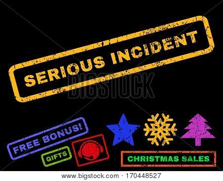 Serious Incident text rubber seal stamp watermark with bonus christmas symbols. Caption inside rectangular banner with grunge design and scratched texture.