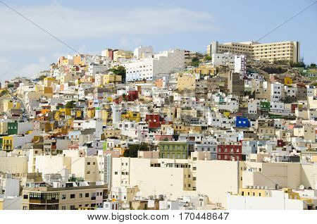 townscape in Gran Canaria hill with houses