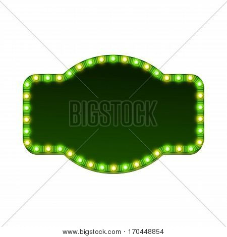 Blank 3d retro light sign with shining bulbs isolated on white background. Green street signboard with yellow and green marquee lights and dark backdrop. Advertising frame Colorful vector illustration
