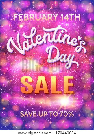 Valentines day sale poster template on abstract pink and purple background with hearts, stars and bokeh circles. Discount banner with 3d white hand lettering text. Font vector illustration. EPS10