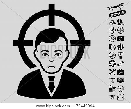 Victim Businessman icon with bonus copter tools images. Vector illustration style is flat iconic black symbols on light gray background.