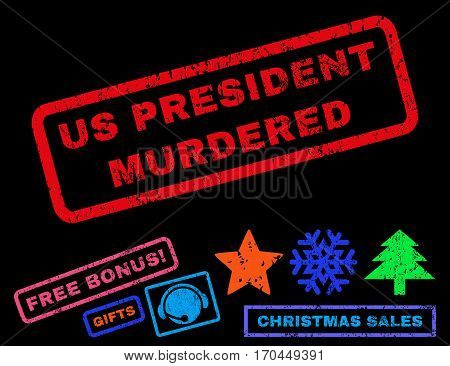 Us President Murdered text rubber seal stamp watermark with additional bonus christmas symbols. Tag inside rectangular shape with grunge design and dirty texture.