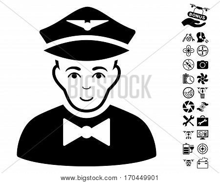 Airline Steward icon with bonus aircopter service icon set. Vector illustration style is flat iconic black symbols on white background.