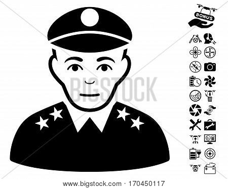 Army General icon with bonus copter service images. Vector illustration style is flat iconic black symbols on white background.