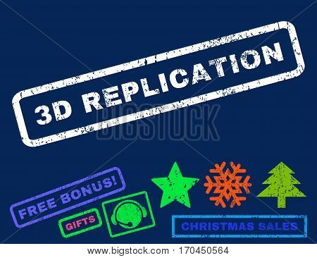 3D Replication text rubber seal stamp watermark with additional bonus new year symbols. Tag inside rectangular shape with grunge design and dust texture.