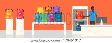 School Bag Store banner. Seller near white table offering some modern backpacks. Yellow and orange backgrounds. Various shapes, size and colour of backpacks. Different bags in white racks. Vector