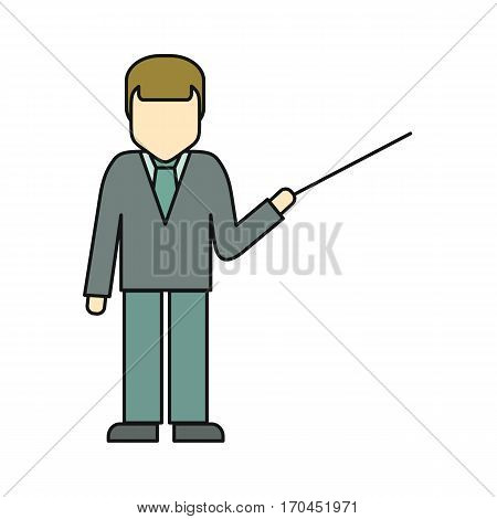 Private man in business suit with pointer. Consultant, businessman, lecturer, manager character. Man personage in front. Line art. Isolated vector illustration on white background.