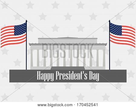 Happy Presidents Day. Poster With American Flag And Symbols. Vector Illustration