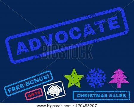 Advocate text rubber seal stamp watermark with additional bonus christmas symbols. Tag inside rectangular banner with grunge design and dust texture.