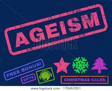 Ageism text rubber seal stamp watermark with additional bonus new year symbols. Tag inside rectangular banner with grunge design and dirty texture.