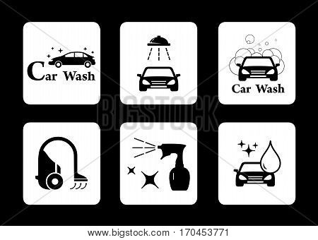 black isolated clean icon car wash symbol set